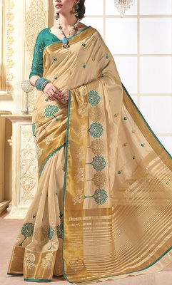 Saree Exotica Beige Green Silk Saree