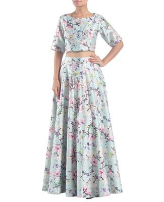 Printed raw silk crop top & skirt