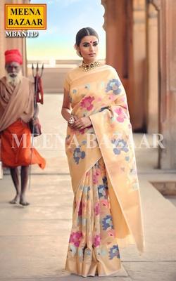 Meena Bazaar Tussar Handwoven Saree