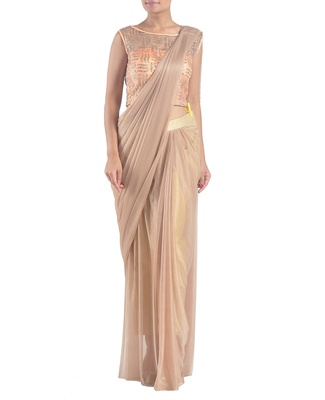 Gold peach draped pants saree