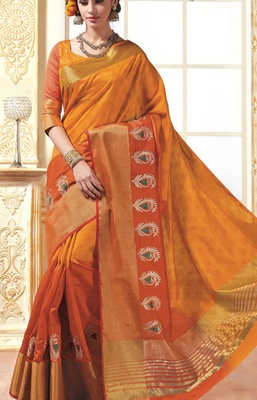 Saree Exotica Orange Red Silk Saree