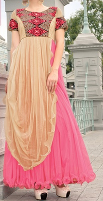 Viva N Diva Dusty Pink & Beige Color Soft Net Gown.