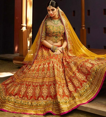 Variation Orange Art Silk Bridal Lehenga Choli