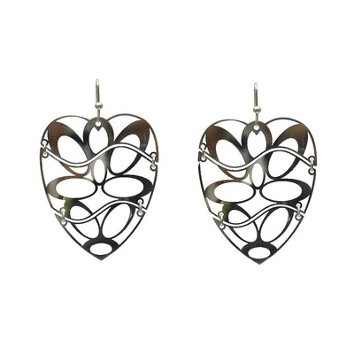 LeCalla Laser Cut Heart Rhodium Dangler Earrings