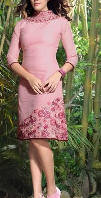 Viva N Diva Dusty Pink color Lilen Kurti.