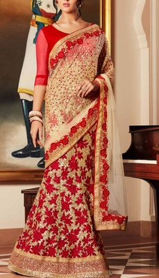 Variation Beige Georgette Designer Saree