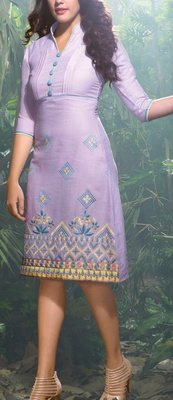 Viva N Diva Light Purple color Linen Kurti.