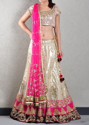 GOLD SEQUIN EMBROIDERED LEHENGA