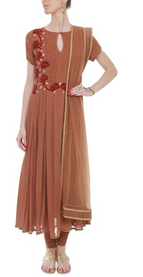 Brown embroidered anarkali