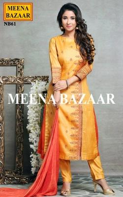 Meena Bazaar Mustard Printed Suit