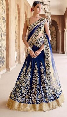 Variation Blue Bhagalpuri silk Designer Ghaghra Choli