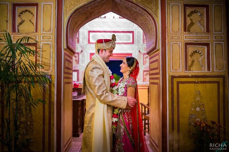 Cross-Cultural, Winter Wedding Held at Samode Palace, Jaipur.