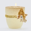 Veeda Glass shape candle with white fiber ganesh image