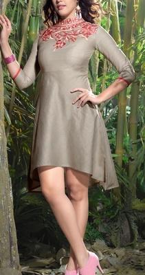 Viva N Diva Grey color Lilen Kurti.