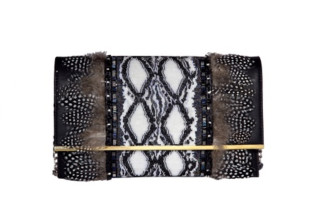 Rossoyuki Feather and glass beaded Panelled clutch- Brown