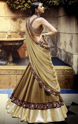 Variation Beige Art Silk Designer Ghaghra Choli