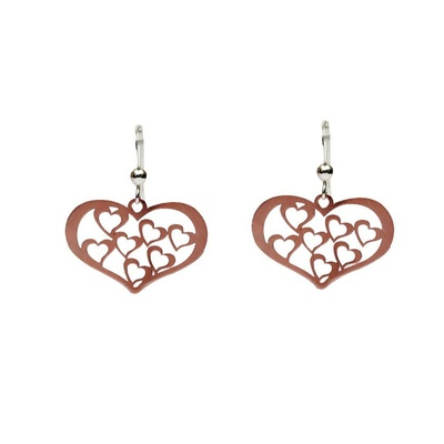 LeCalla Heart in Heart Rose Gold Dangler Earrings
