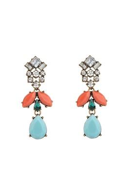 Nizanta Turquoise & Peach Drop Earrings