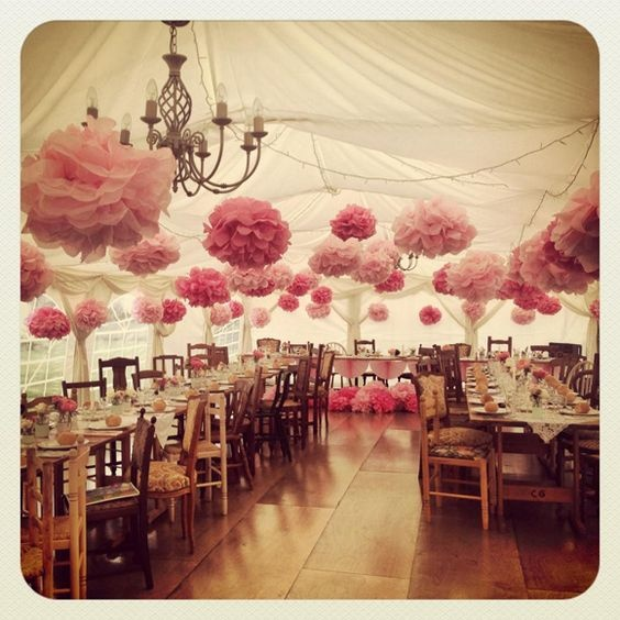 What s new in wedding decoration ideas pom poms blog for Hanging pom poms from ceiling
