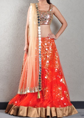 Orange Patra Embroidered Lehenga