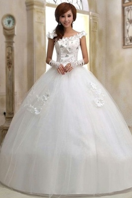 Boat-Necked White Wedding Gown