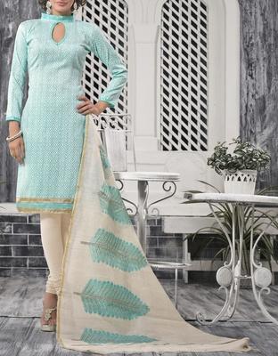Viva N Diva Sky Color Bhagalpuri Print suit.