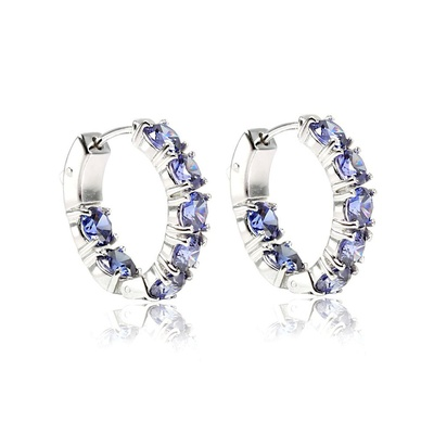 LeCalla Modern Blue CZ Stone Huggie Earrings