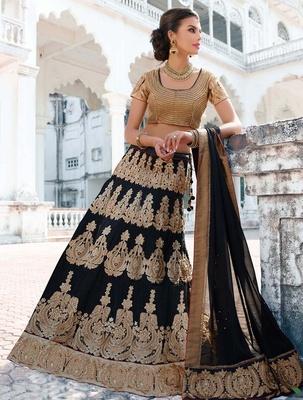 Variation Black Art Silk Bridal Lehenga Choli