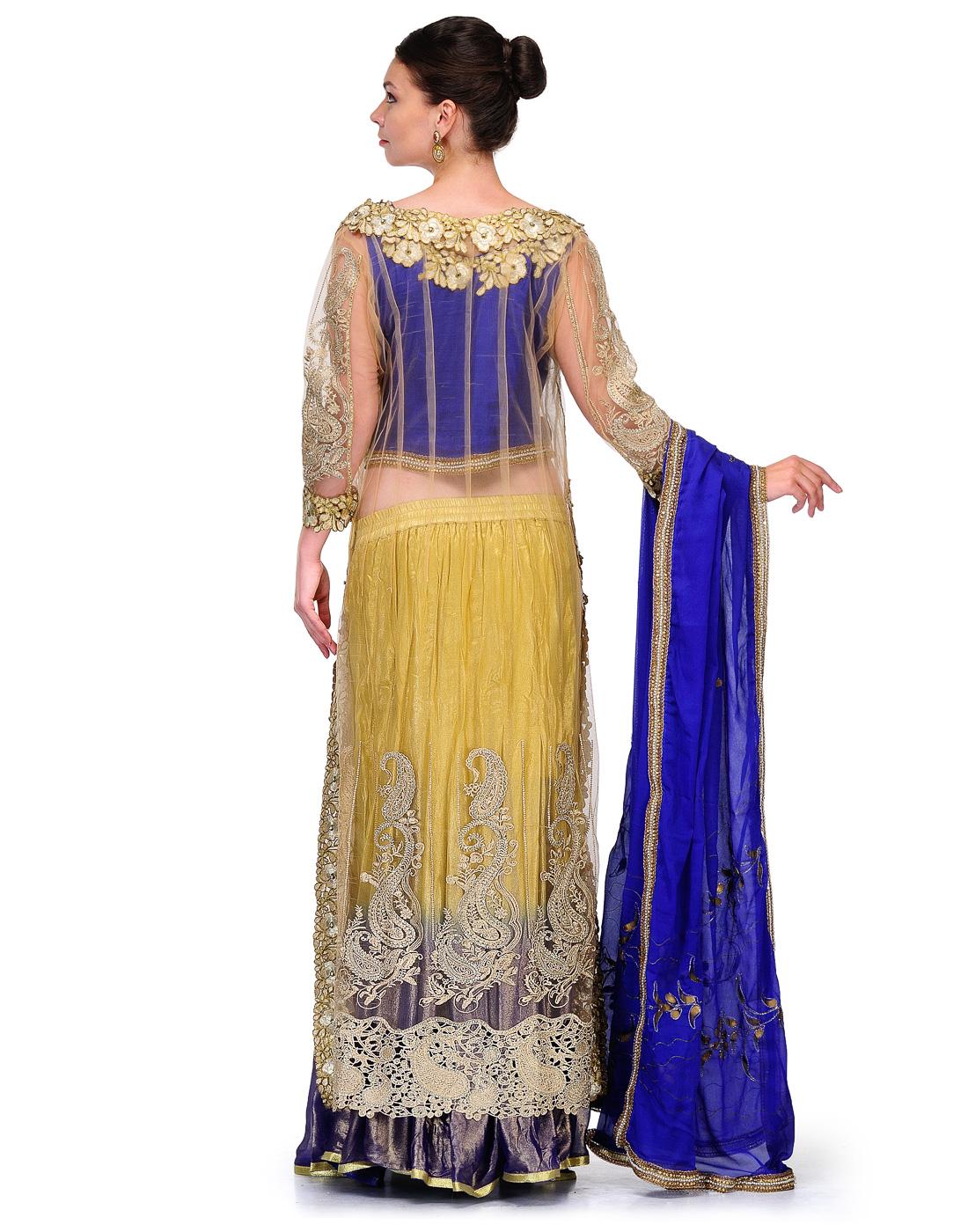 Buy Anjana Misra Dark Blue and Beige Lehenga online ...