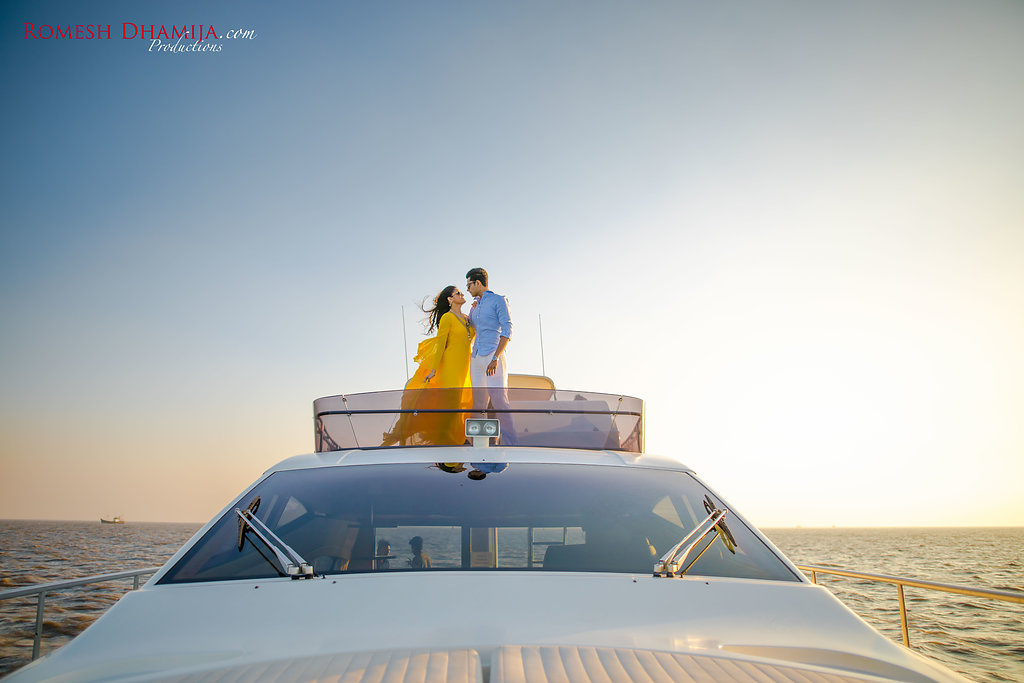 A Stunning Pre-Wedding Shoot Held on a Yacht in the Arabian Sea. #mumbaidiaries