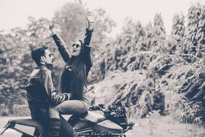 Biker pre-wedding shoot by Gautam Khullar photography.