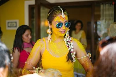 The bride smeared in haldi