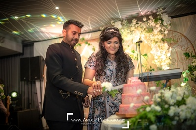 Cake cutting at the engagement ceremony