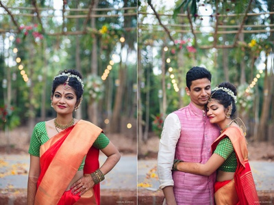 Bride in red silk saree with brocade work on green blouse adorned with golden jewellery