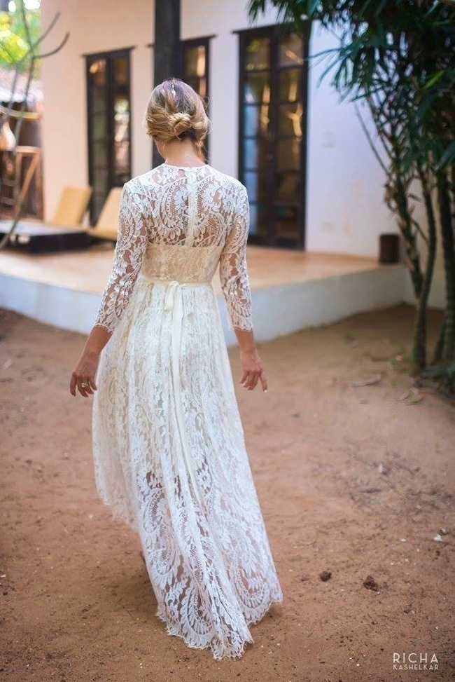 High-Low Laced Wedding Dress
