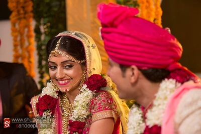 Bridal lehenga styled with exquisite bridal jewellery and subtle makeup