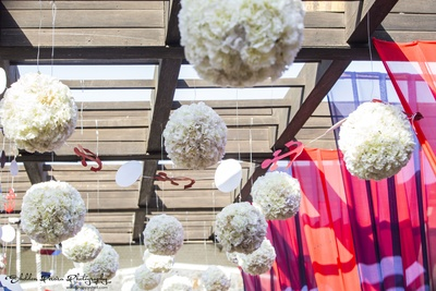 White carnation pomander balls, decor idea for outdoor passage
