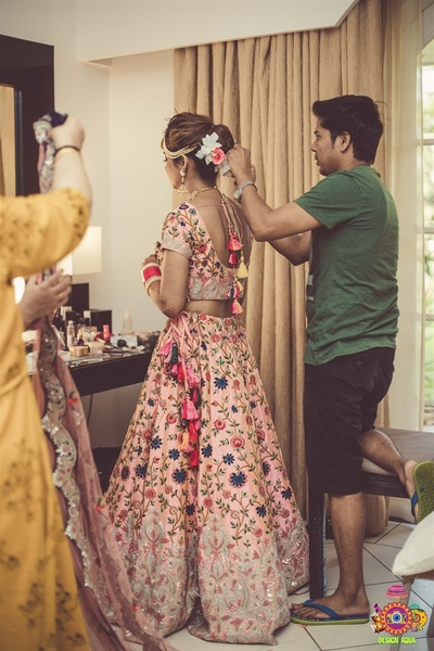 The bride getting ready for her wedding