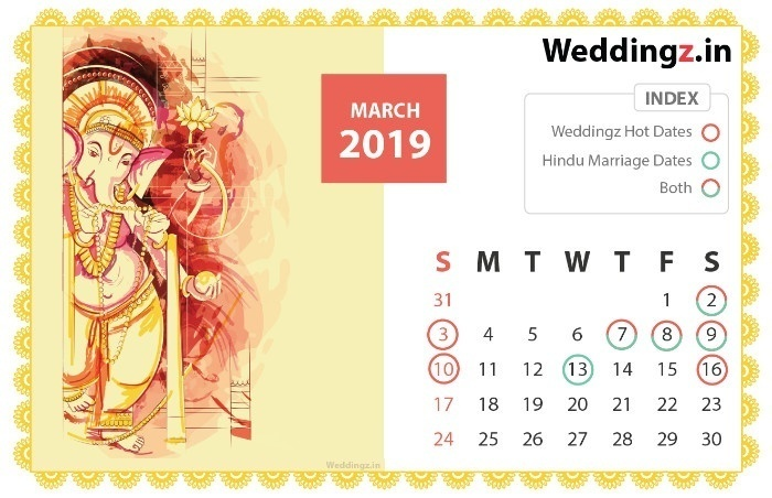 Marriage Dates in 2019, February Hindu Marriage dates - 1st, 8th, 9th, 10th, 15th, 21st, 23rd, 24th, 26th and  28th