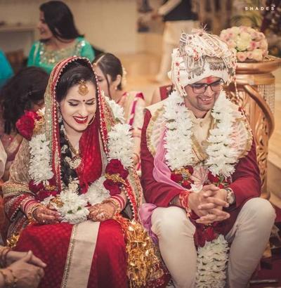 Bridal photography of the wedding in progress at Radhakrishna Temple, Amsterdam