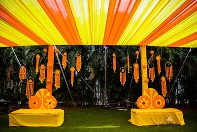 Beautiful marigold decoration at the haldi ceremony