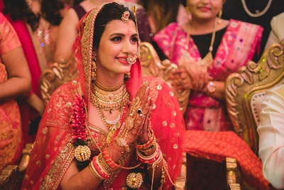 Adorned in stunning bridal jewellery.