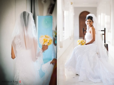 Pearl white flared strapless laced wedding dress with white and yellow Roses bouquet