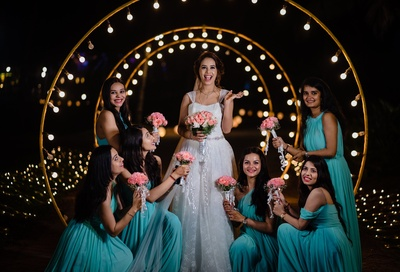 the bride with her bridesmaids at the engagement ceremony