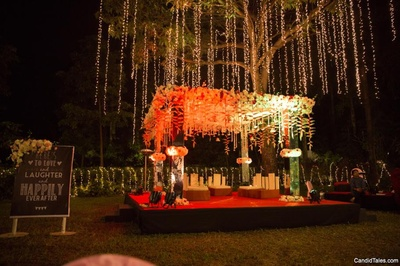 Night wedding ceremony light decor set up