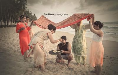 In destination wedding Haldi ceremony on the beach in Thailand