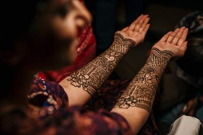 The bride flaunting her mehendi ceremony.
