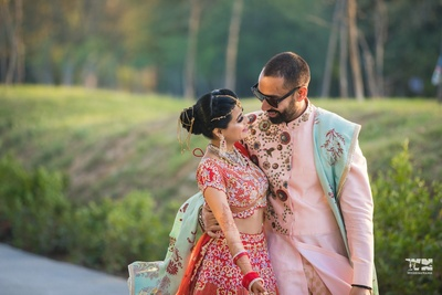 statement bridal hair jewellery captured in this candid couple shot