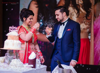 bride and groom in their wedding reception