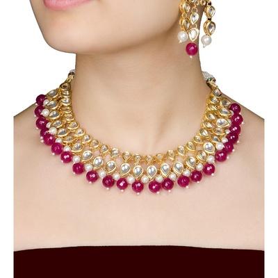 Imli Street Maroon Jadau Necklace With A Pair Of Earrings